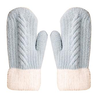 כפפות נשים חורף חמוד טוויסט חום וכפפות עבות קטיפה