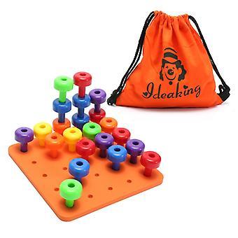 木製ペグボードセット子供分類おもちゃ細かい運動能力キッズベビー就学前活動教育ビルディングブロック組み立て