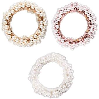 3 Pcs Pearl Hair Scrunchies Ponytail Styling Accessories For Women And Girls