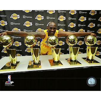 Kobe Bryant with his 5 NBA Championship trophies Photo Print (8 x 10)