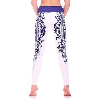Mio Active Long Creme Indigo Tribal Yoga Leggings MS16S5L