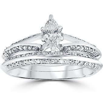 3/4 ct Marquise diamante noivado aliança conjunto 14K ouro branco