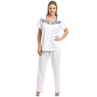 Camille Classic White Shortsleeve Pyjama Set With Navy Floral Design