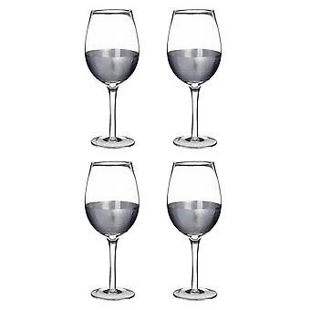 Premier Housewares Apollo-Satz von 4 großen 500ml Wein Gläser, Silber