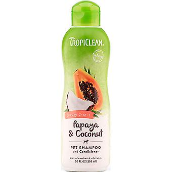 TropiClean luxe 2-in-1 Papaya & kokos huisdier Shampoo