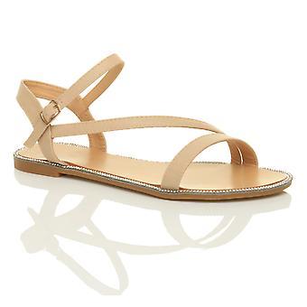 Ajvani womens platt strappy spänne diamante trim sommar kväll sandaler skor