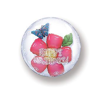 Ballon Double Bubbel Kugel Happy Birthday Geburtstag Blumen circa 55cm