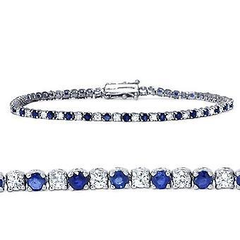 3ct الياقوت الأزرق & الماس الذهب الأبيض حقيقية التنس سوار ك 14