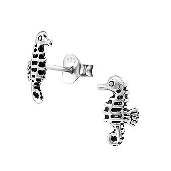 Sea Horse - 925 Sterling Silver Plain Ear Studs - W28274x