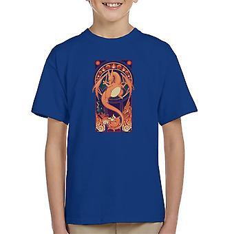 T-shirt Pokemon Charizard Deco de arte infantil