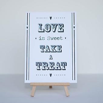 Candy Sweet Bar Sign White 'Love Is Sweet' Sign And Easel Stand - Wedding v2