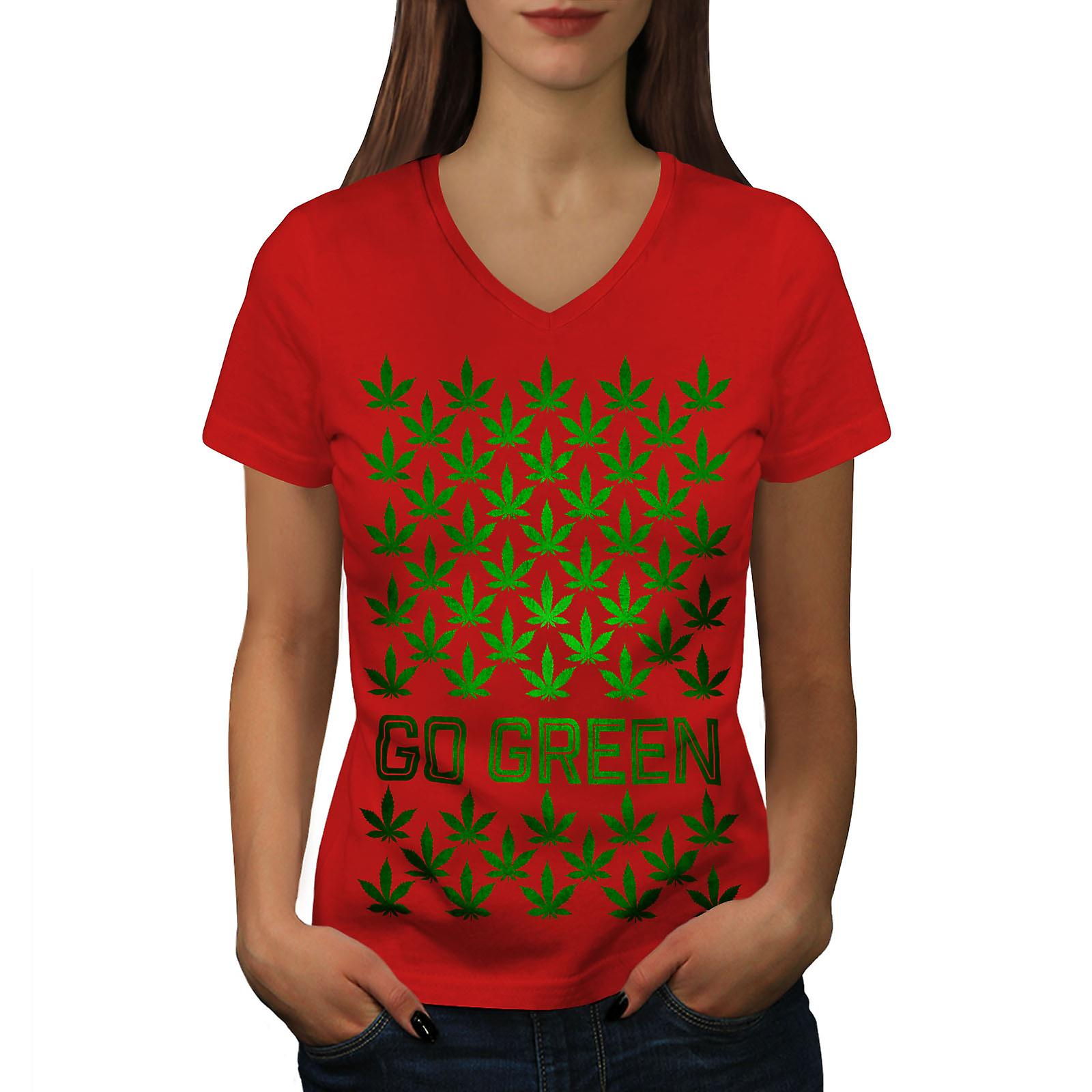 Vert Cannabis Pot femmes RedV-Neck T-shirt | Wellcoda