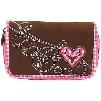 Buscar terciopelo, cartera Baviera marrón bolso mujer, con el algodón a cuadros