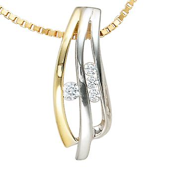 Charm 925 rhodium plated sterling silver 4 cubic zirconia bicolor gold plated