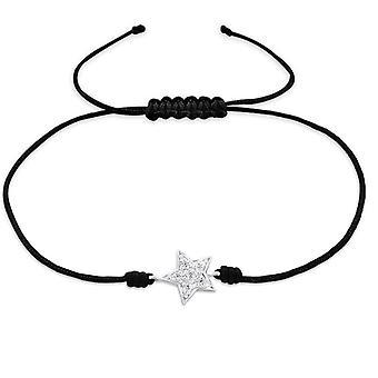 ひも状の星 - 925 スターリングシルバー + ナイロン コード ブレスレット - W25473X