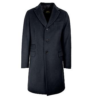CC Collection Corneliani Navy Blue Wool-Blend Coat