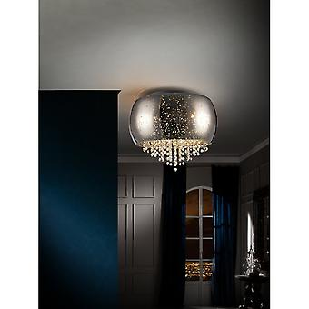 Schuller Caelum Chrome 40cm Speckled Glass Ceiling Lamp With Crystal