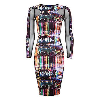 Nieuwe dames lange mouw Mesh invoegen stadslichten afdrukken vrouwen Bodycon jurk