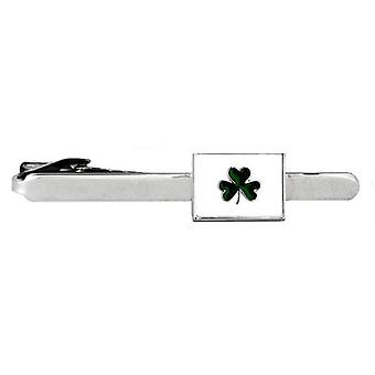 David Van Hagen Irish Shamrock Tie Clip - Silver/White/Green