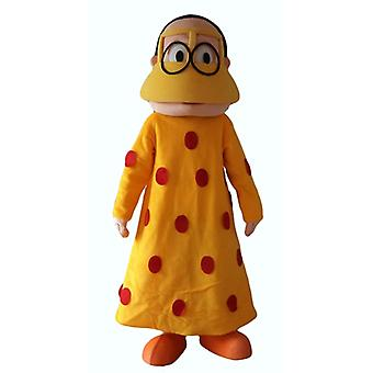 mascot SPOTSOUND of Oriental woman, with a yellow dress with red polka dots