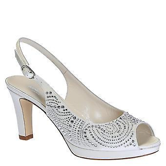High heels wedding slingback open toe pumps in white leather with cristals and platform