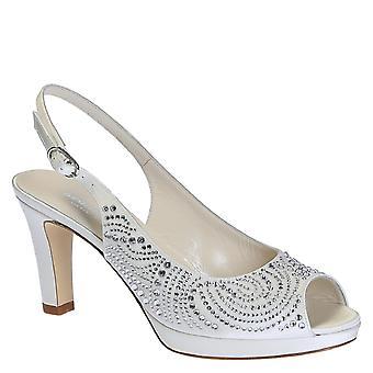 Høye hæler bryllup slingback åpne toe pumper i hvitt skinn med cristals og plattform