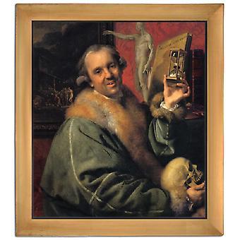 Med frame selvportræt med timeglas, Johann Zoffany, 61x51cm