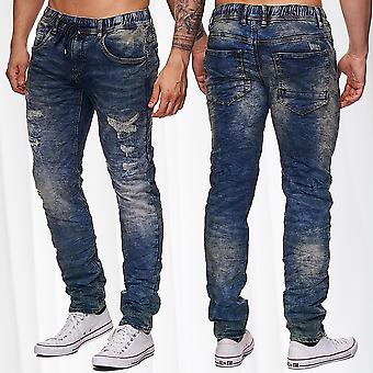 Jeans pantalon hommes Jogging Stretch Denim détruit Drawstring pantalon
