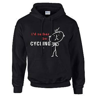 Mens I'd Rather Be Cycling Hoodie Black Hoody