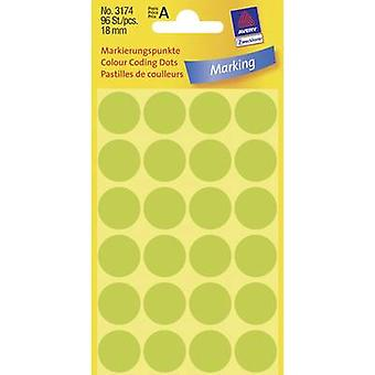 Avery-Zweckform 3174 Sticky dots Ø 18 mm groen (fluorescerend) 96 PC (s) permanent papier