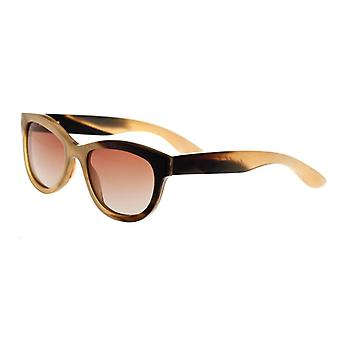 Bertha Carly Buffalo-Horn Polarized Sunglasses - Honey-Black/Brown