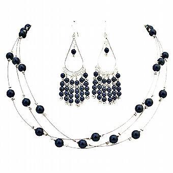 Mørk lilla perler smykker med lysekrone øreringe perfekte gave