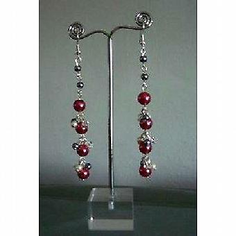 Chandelier Earrings Cultured Pearls Red D.Grey & Cream Colors Earrings