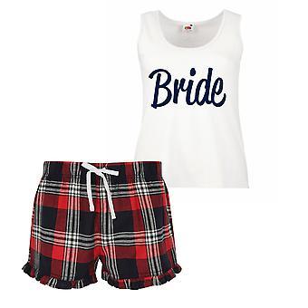 Bride Ladies Tartan Frill Short Pyjama Set Red Blue or Green Blue