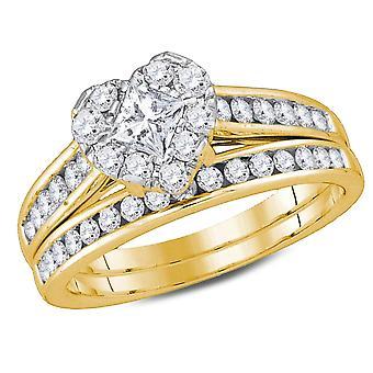 1.25 Carat (ctw H-I, I1-I2) Princess Cut Diamond Engagement Heart Ring Bridal Wedding Set in 14K Yellow Gold