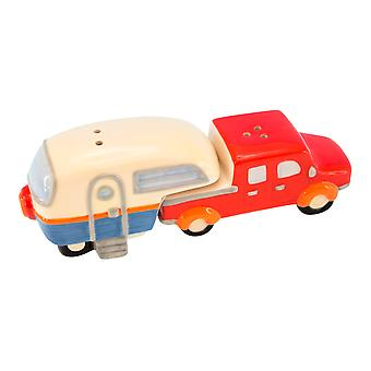 Truck Pulling Fifth Wheel Camper Camping RV Ceramic Salt and Pepper Shaker Set