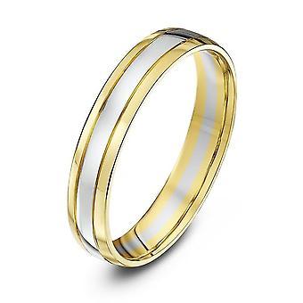 Anéis de casamento estrela 18 quilates amarelo e ouro branco tribunal forma 4mm anel de casamento