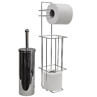 Valencia - Chrome Toiletborstel en Loo Roll Dispenser - zilver