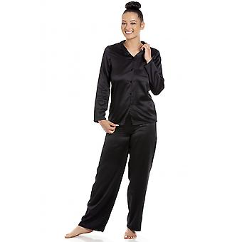 Camille Camille Womens Long Sleeve Plain Black Satin Pyjama