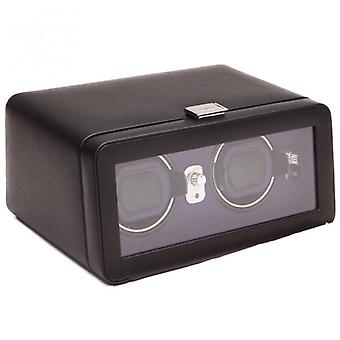 Wolf Designs Windsor Purple & Black Leather Double Watch Winder 2.5 With Cover
