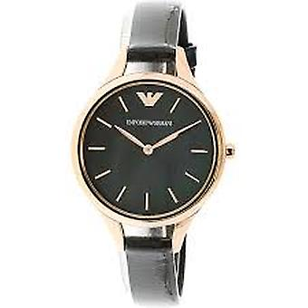 Emporio Armani Ar11056 Aurora Black Leather Strap Ladies Watch