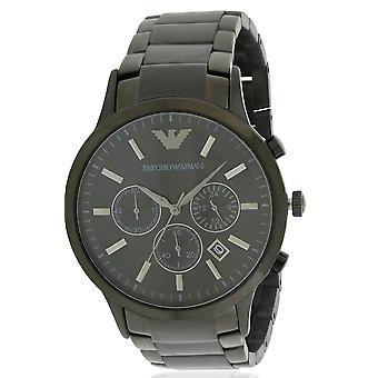 Emporio Armani en acier inoxydable noir Chronograph Mens Watch AR2453