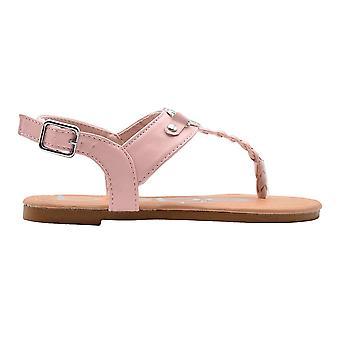 bebe الفتيات أزياء صنادل طفل صغير ظهر مفتوح ثونغ الصيف أحذية مسطحة مع حزام مضفر