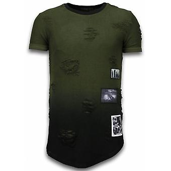 Pictured Flare Effect T-shirt - Long Fit -Shirt Dual Colored - Green