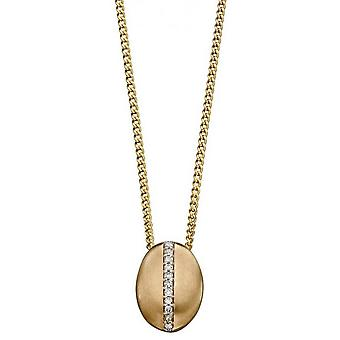 Elements Gold Diamond Channel Oval Pendant - Gold/Silver