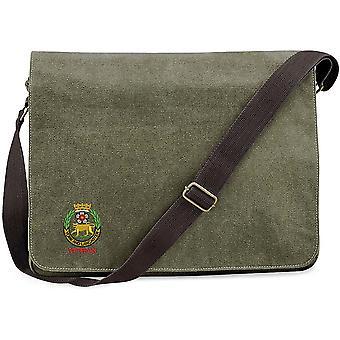 York och Lancaster Regiment veteran-licensierade brittiska armén broderade Vintage canvas Despatch Messenger Bag