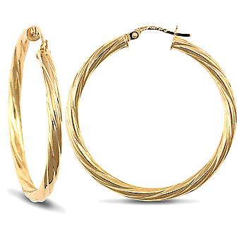 Jewelco London Ladies 9ct Yellow Gold Twisted 3mm Hoop Earrings 35mm