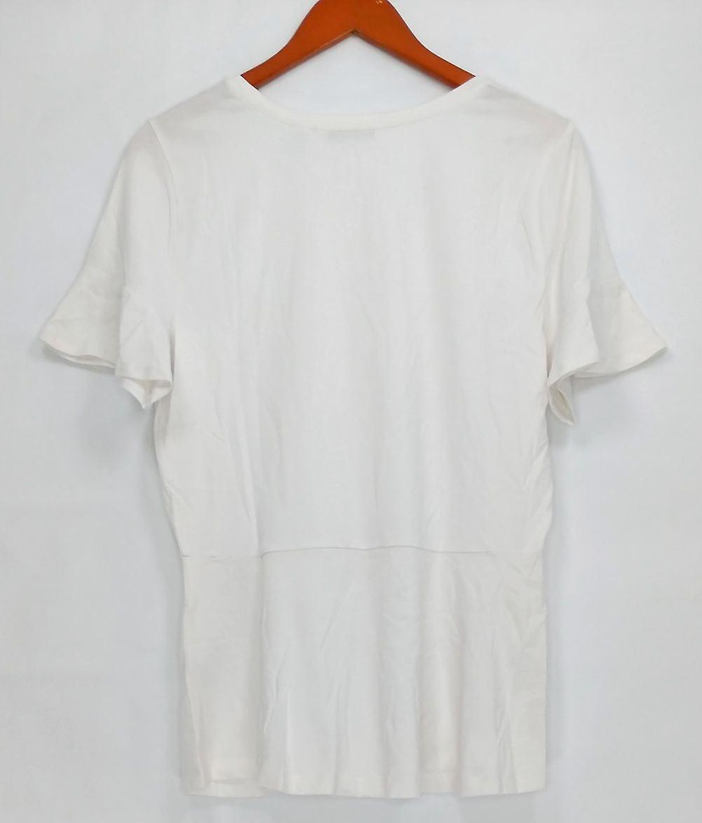 Isaac Mizrahi Live! Women's Top Knit Peplum Short Sleeve White A303170 PTC