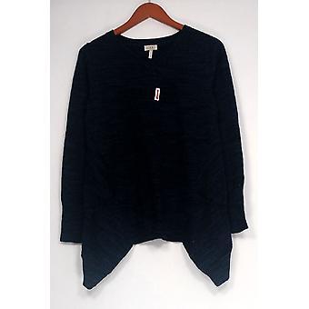 LOGO by Lori Goldstein Sweater M?lange Cotton Cashmere Blue A282340