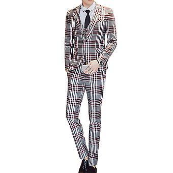 Allthemen Men's 3-Piece Suits Plaid Business Casual Blazer&Vest&Pants